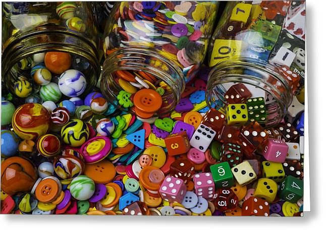 Marbles Buttons Dice Greeting Card by Garry Gay