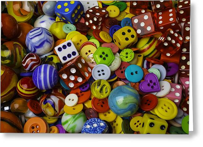 Marbles Dice Buttons Assortment Greeting Card by Garry Gay