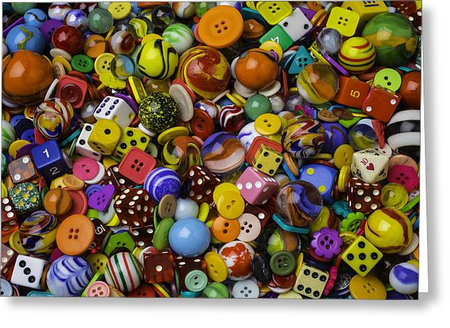 Marbles Dice Buttons Collection Greeting Card by Garry Gay