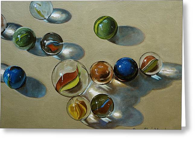 Marbles Greeting Card by Doug Strickland