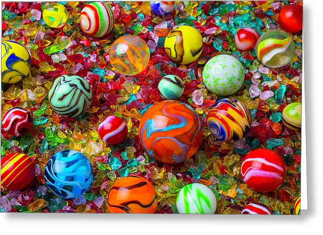 Marbles On Crushed Glass Greeting Card by Garry Gay