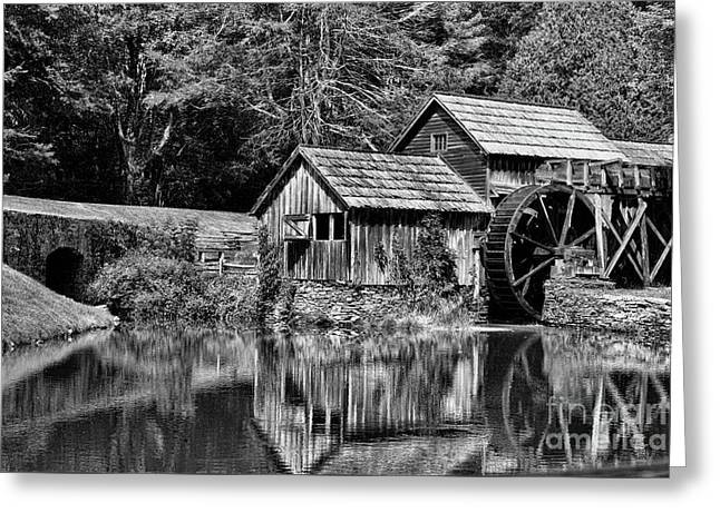Marby Mill In Black And White Greeting Card