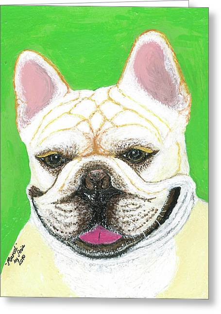 Greeting Card featuring the painting Marcel French Bulldog by Ania M Milo