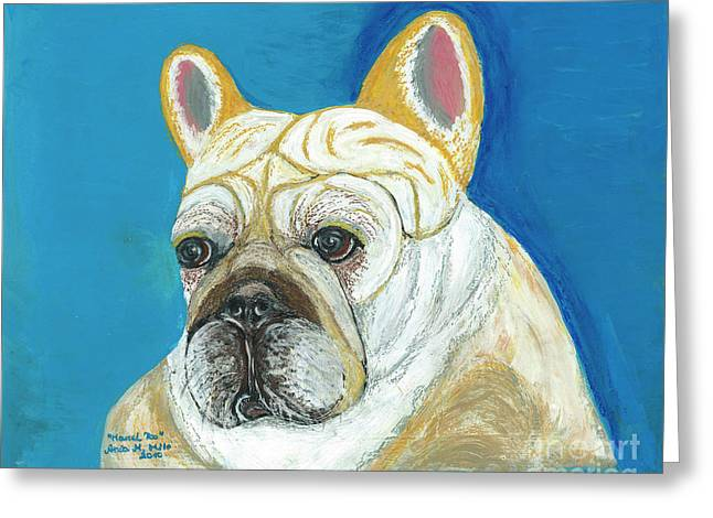 Greeting Card featuring the painting Marcel II French Bulldog by Ania M Milo