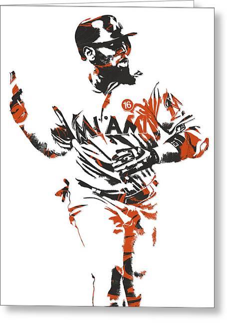 Marcell Ozuna Miami Marlins Pixel Art 2 Greeting Card