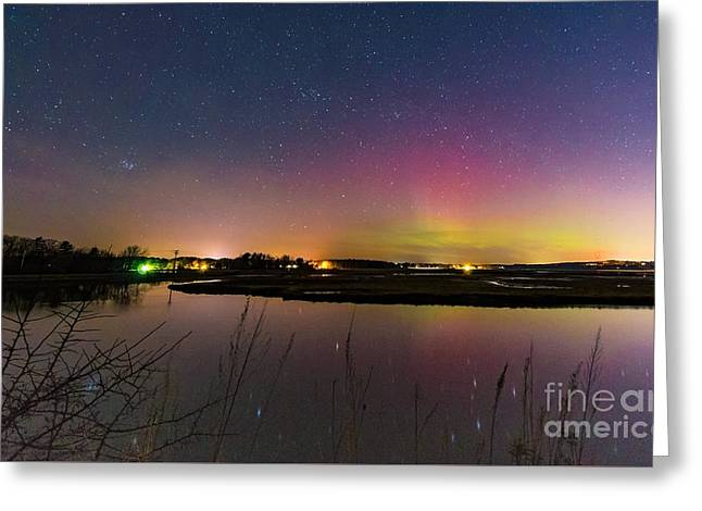March 6 Aurora Over Scarborough Marsh  Greeting Card