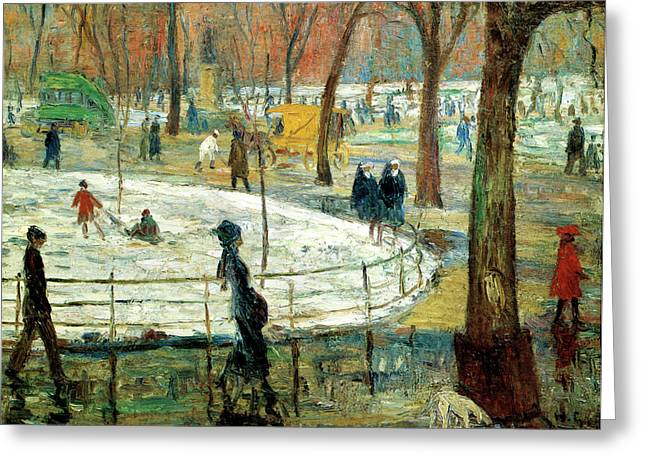 March Day Washington Square Greeting Card by William Glackens
