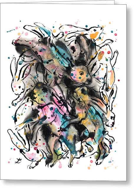 March Hares Greeting Card