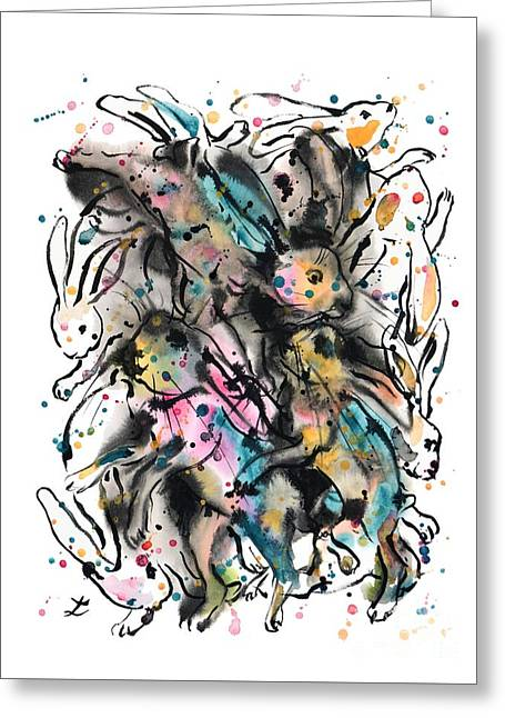 March Hares Greeting Card by Zaira Dzhaubaeva