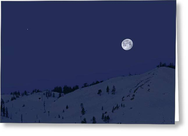 Greeting Card featuring the photograph March Moon With Jupiter by Donna Kennedy