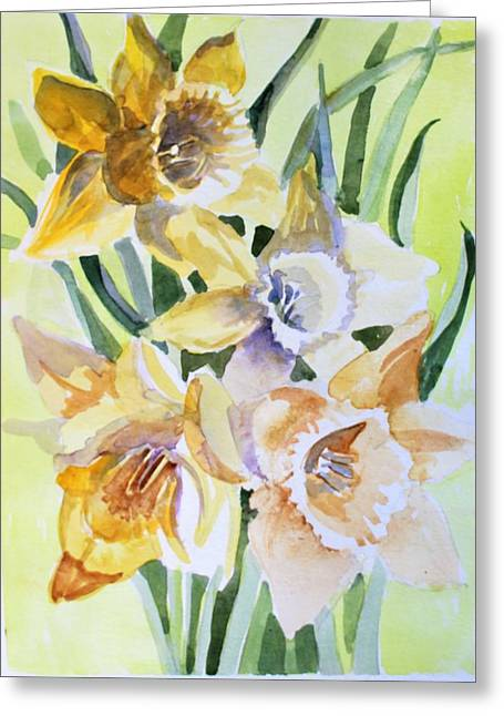 March Of Daffodils Greeting Card by Mindy Newman