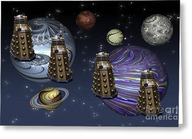 March Of The Daleks Greeting Card by Steve Purnell
