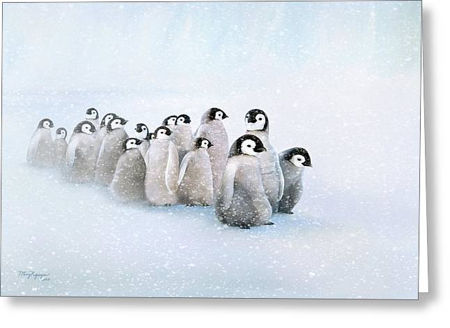 Greeting Card featuring the digital art March Of The Penguins by Thanh Thuy Nguyen