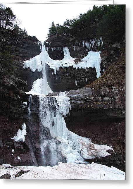 March Thaw Darkens The Kaaterskill Falls 2009 Greeting Card by Terrance DePietro