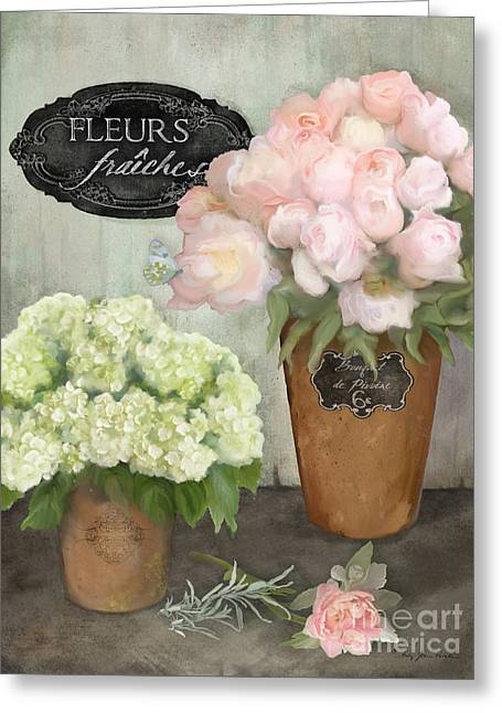 Greeting Card featuring the painting Marche Aux Fleurs 2 - Peonies N Hydrangeas by Audrey Jeanne Roberts