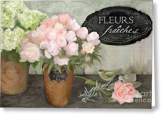 Greeting Card featuring the painting Marche Aux Fleurs 2 - Peonies N Hydrangeas W Bird by Audrey Jeanne Roberts