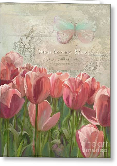 Marche Aux Fleurs 3 - Butterfly N Tulips Greeting Card by Audrey Jeanne Roberts