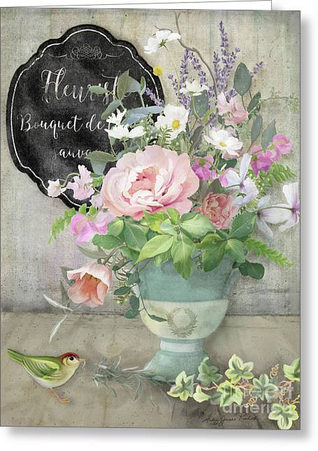 Greeting Card featuring the painting Marche Aux Fleurs 3 Peony Tulips Sweet Peas Lavender And Bird by Audrey Jeanne Roberts