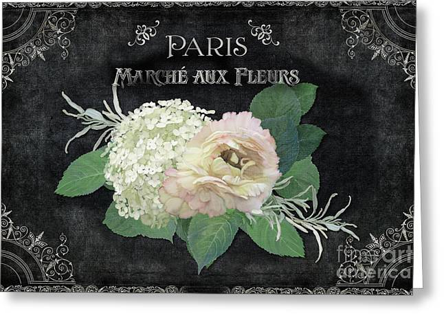 Greeting Card featuring the painting Marche Aux Fleurs 4 Vintage Style Typography Art by Audrey Jeanne Roberts