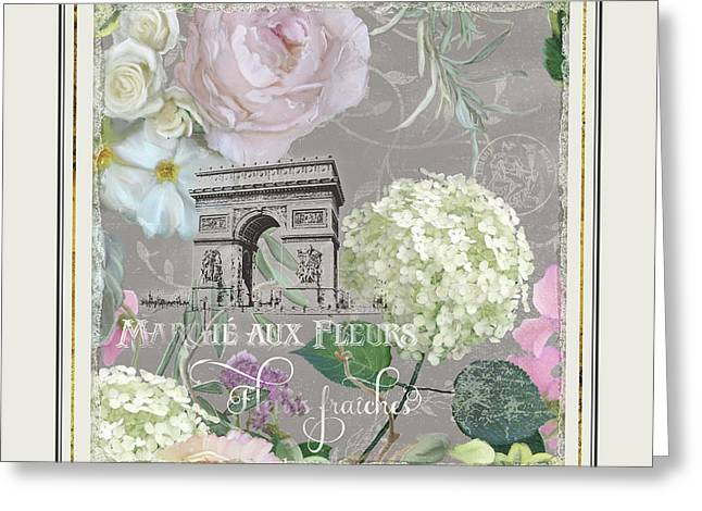 Greeting Card featuring the painting Marche Aux Fleurs Vintage Paris Arc De Triomphe by Audrey Jeanne Roberts