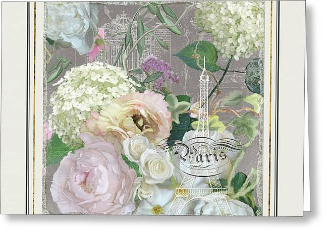 Greeting Card featuring the painting Marche Aux Fleurs Vintage Paris Eiffel Tower by Audrey Jeanne Roberts