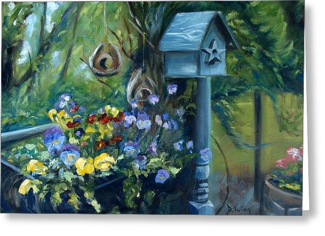 Marcia's Garden Greeting Card by Donna Tuten