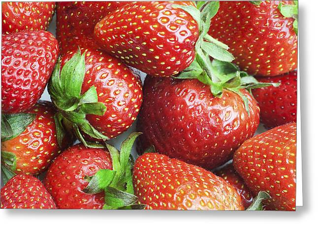 Greeting Card featuring the photograph Marco View Of Strawberries by Paul Ge