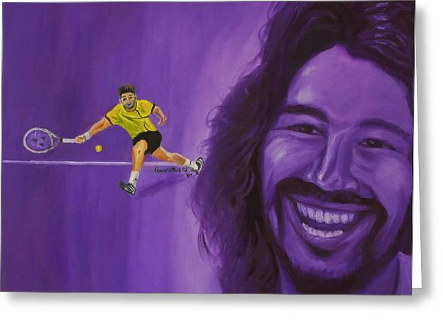 Greeting Card featuring the painting Marcos Baghdatis by Quwatha Valentine