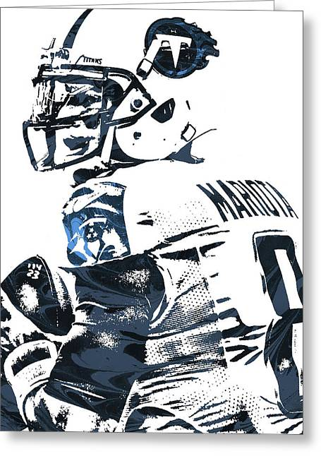 Greeting Card featuring the mixed media Marcus Mariota Tennessee Titans Pixel Art by Joe Hamilton