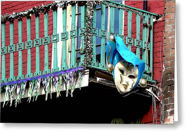 Mardi Gras Balcony Greeting Card
