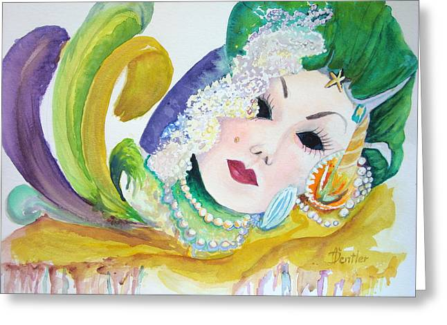 Greeting Card featuring the painting Mardi Gras Elegance by AnnE Dentler