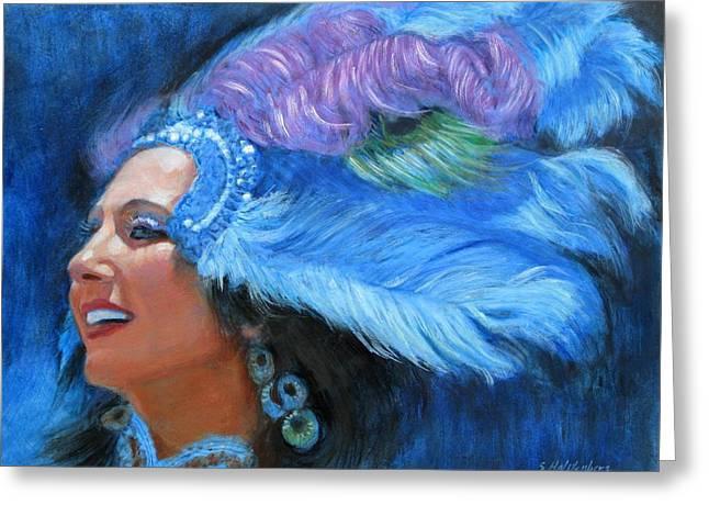 Mardi Gras Paintings Greeting Cards - Mardi Gras Girl Greeting Card by Sue Halstenberg