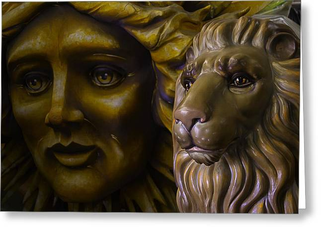 Fantasy Creatures Photographs Greeting Cards - Mardi Gras Lion Greeting Card by Garry Gay