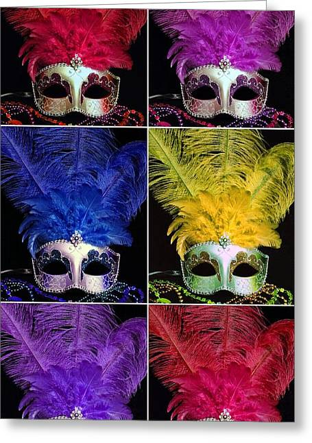 Mardi Gras Mask Collage 2 Greeting Card