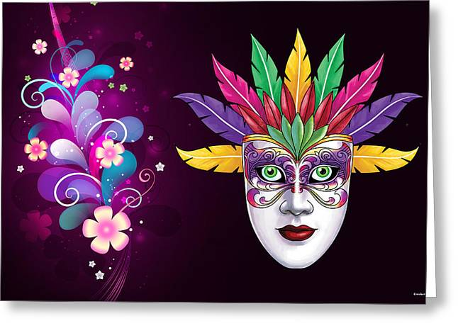 Greeting Card featuring the photograph Mardi Gras Mask On Floral Background by Gary Crockett