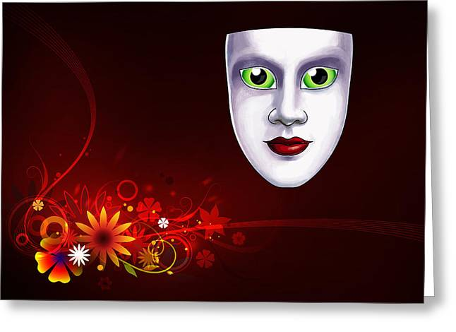 Mardi Gras Mask Red Vines Greeting Card by Gary Crockett