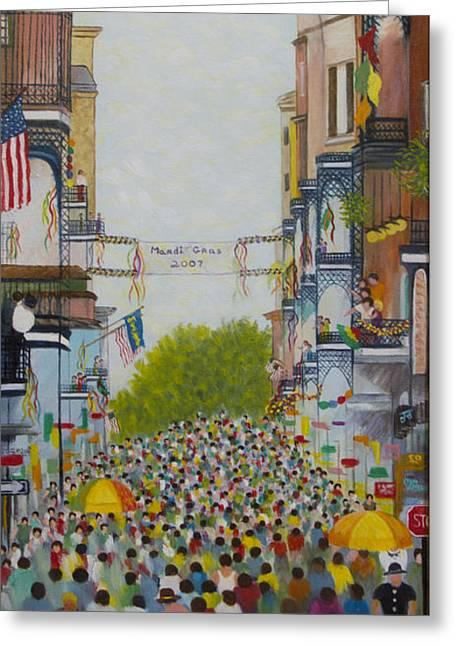 Mardi Gras On Bourbon Street Greeting Card by Douglas Ann Slusher