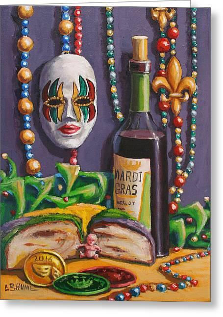 Mardi Gras Still Life King Cake Greeting Card by CB Hume