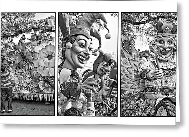 Mardi Gras Triptych - Let The Good Times Roll Bw Greeting Card