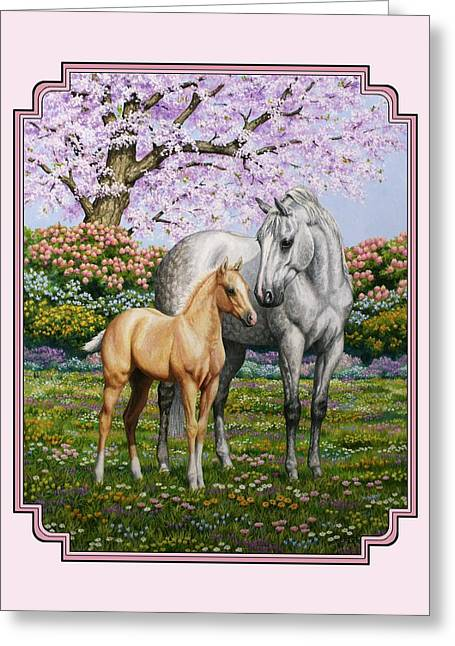 Mare And Foal Pillow Pink Greeting Card by Crista Forest