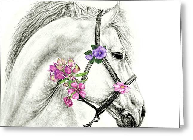Mare With Flowers Greeting Card by Heidi Kriel