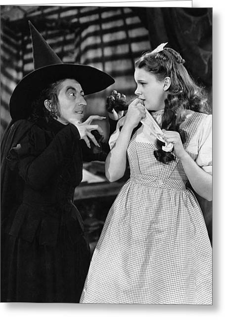 Margaret Hamilton And Judy Garland In The Wizard Of Oz 1939 Greeting Card by Mountain Dreams