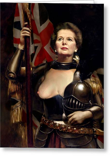 Margaret Thatcher Nude Greeting Card by Karine Percheron-Daniels