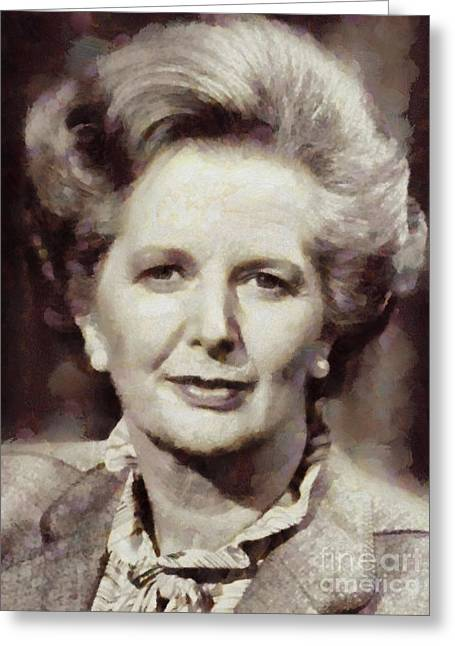 Margaret Thatcher, Prime Minister Of The United Kingdom By Sarah Kirk Greeting Card by Sarah Kirk