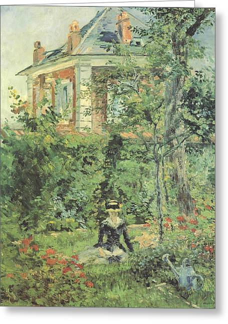 Marguerite In The Garden At Bellevue Greeting Card by Edouard Manet
