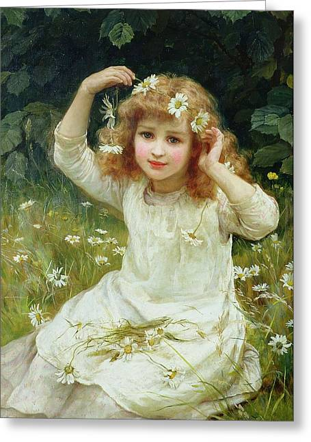Little Girl Greeting Cards - Marguerites Greeting Card by Frederick Morgan