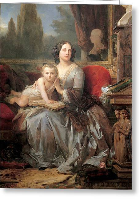 Maria Brignole-sale Duchess Of Galliera With Her Son Filippo Greeting Card by Leon Cogniet