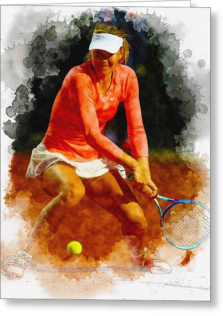 Maria Sharapova Of Russia In Action During Her Match Against Vic Greeting Card