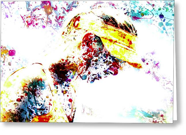 Maria Sharapova Paint Splatter 4p                 Greeting Card by Brian Reaves