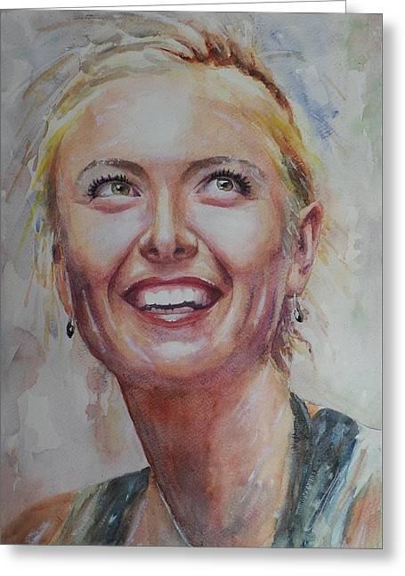 Maria Sharapova - Portrait 3 Greeting Card by Baresh Kebar - Kibar